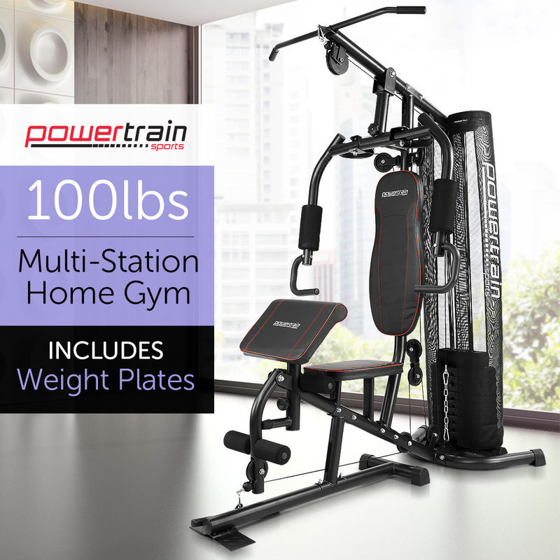 Powertrain multi station home gym exercise equipment bench press