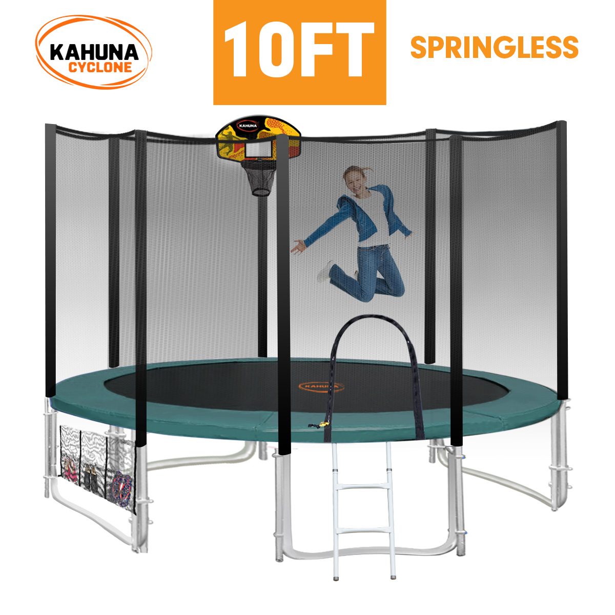 10ft 8-post Springless Trampoline Free Safety Net+pad+mat