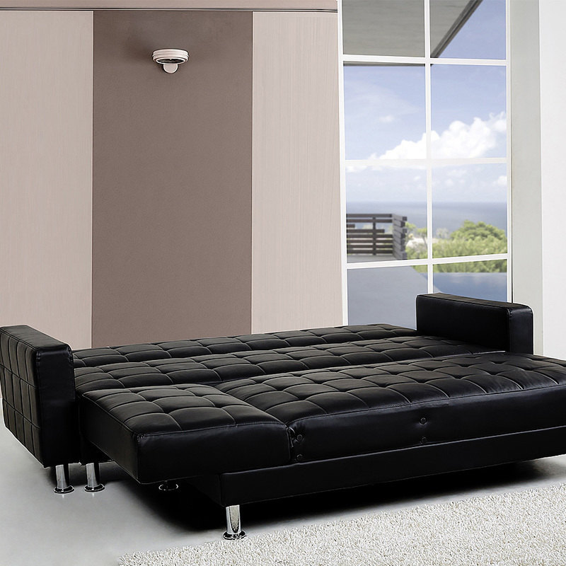 4 seater pu leather sofa bed couch w chaise black buy for 4 seater chaise sofa