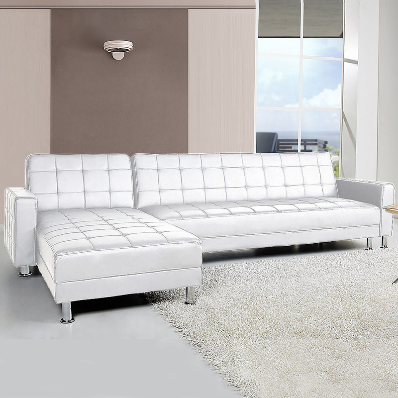 4 seater pu leather sofa bed couch w chaise white buy for 2 seater chaise sofa bed