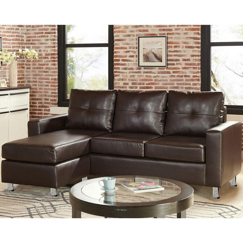 Chaise Lounge Leather Sofa: 3 Seater PU Leather Couch W/ Chaise Lounge In Brown