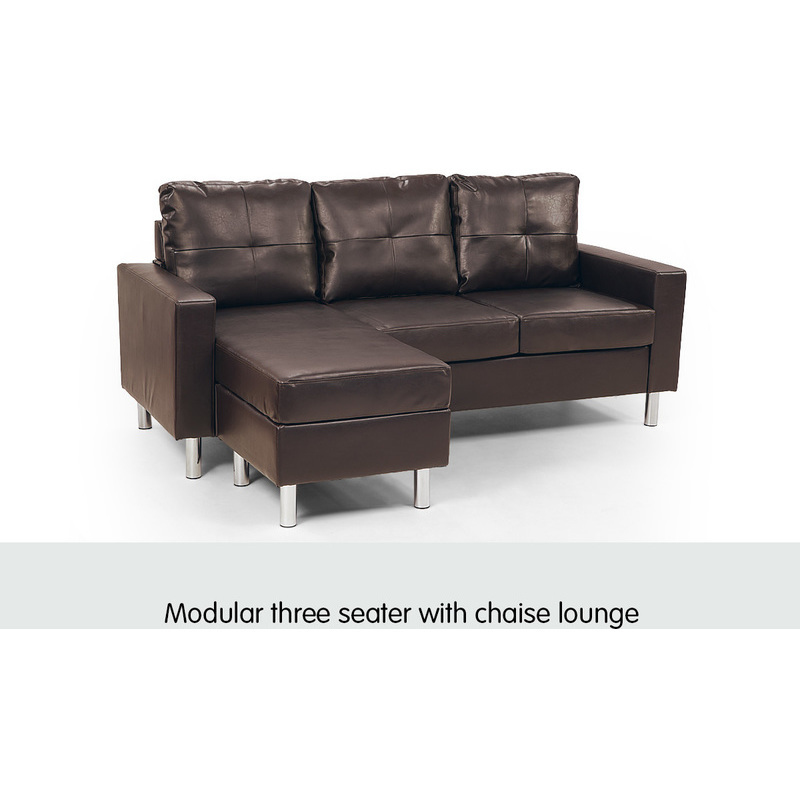 3 seater pu leather couch w chaise lounge in brown buy for 3 seater lounge with chaise