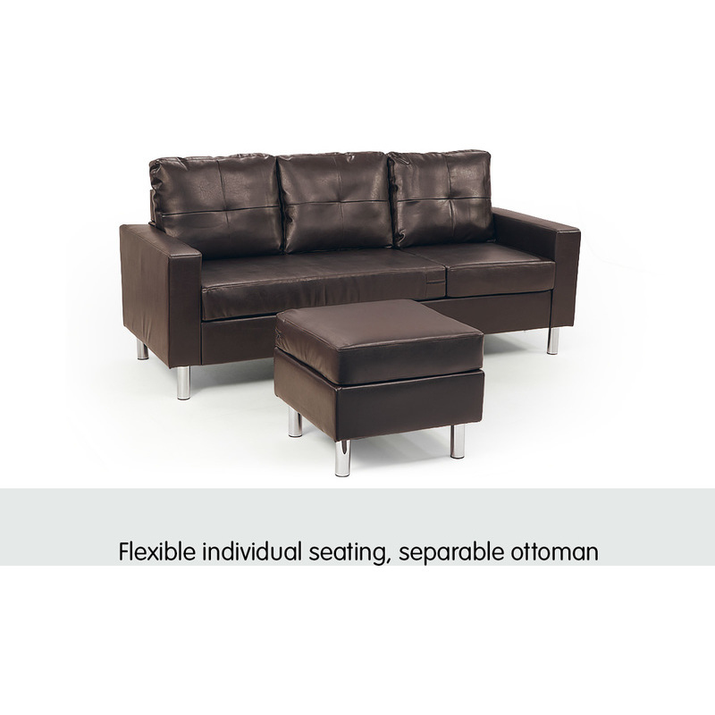 3 seater pu leather couch w chaise lounge in brown buy for 1 seater chaise lounge