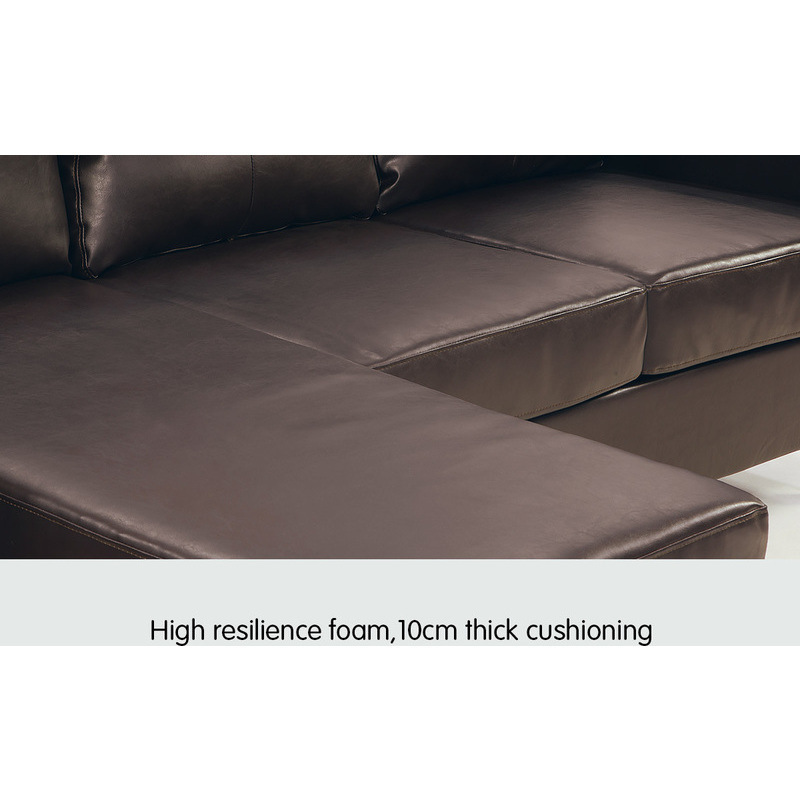 3 seater pu leather couch w chaise lounge in brown buy for Brown leather sofa with chaise lounge