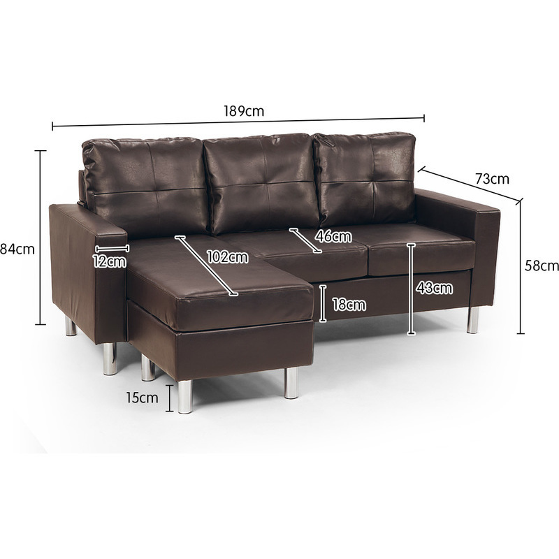 3 seater pu leather couch w chaise lounge in brown buy for 2 seater chaise sofa for sale