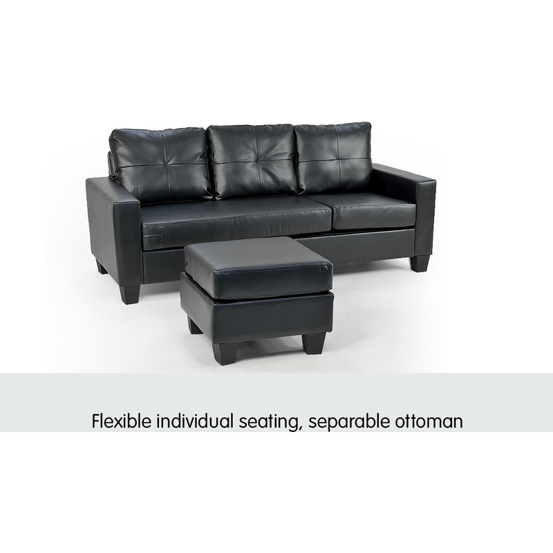 3 seater pu leather couch w chaise lounge in black buy for 3 seater couch with chaise
