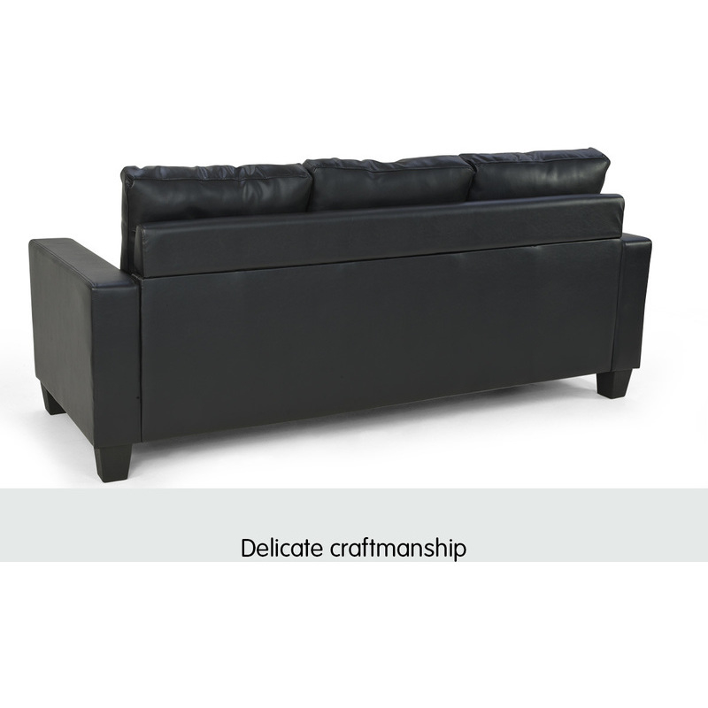 3 seater pu leather couch w chaise lounge in black buy for 1 seater chaise lounge