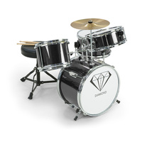Kids 4 Piece Drum Kit with Stool & Sticks in Black
