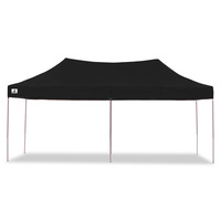 Wallaroo Folding Pop Up Marquee Gazebo Black 3x6m