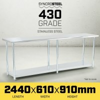 430 Grade Stainless Steel Kitchen Work Bench 96in