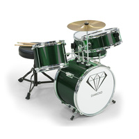 Kids 4 Piece Drum Kit with Stool & Sticks in Green