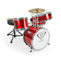 Kids 4 Piece Drum Kit with Stool & Sticks in Red