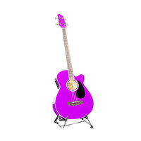 Karrera 4 String Acoustic Bass Guitar Purple 43in