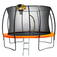 Kahuna 14ft Trampoline with Basket Ball Set Orange