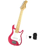 Kids Electric Guitar with Shoulder Strap in Pink
