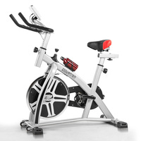 Home Gym Flywheel Spin Exercise Bike in Silver
