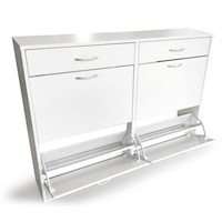 24 Pair Shoe Cabinet Storage Cupboard in White 1.2m