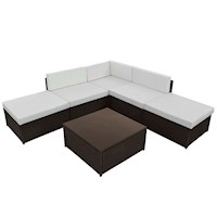6pc Outdoor Wicker Corner Lounge Set w/ Table Brown