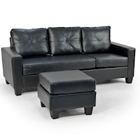 3 Seater PU Leather Couch w/ Chaise Lounge in Black