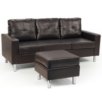 3 Seater PU Leather Couch w/ Chaise Lounge in Brown