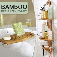Luxury Bamboo Bathroom Caddies for Shower or Bath