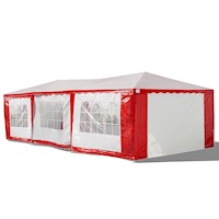 Portable Gazebo Marquee in Red and White 4m x 8m
