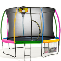 Kahuna 10ft Trampoline with Net Enclosure - Rainbow