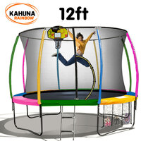 Kahuna 12ft Trampoline with Net Enclosure - Rainbow