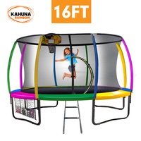 Kahuna 16ft Trampoline with Net Enclosure - Rainbow