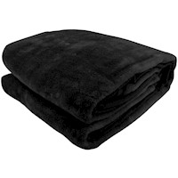 Double Sided Queen Faux Mink Blanket - Black 600GSM