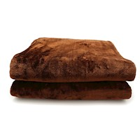 Double Sided Faux Mink Blanket in Chocolate 600GSM