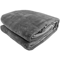 Double Sided Queen Faux Mink Blanket Silver 600GSM