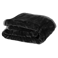 Double Sided Queen Faux Mink Blanket - Black 800GSM