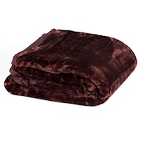 Double Sided Faux Mink Blanket in Chocolate 800GSM