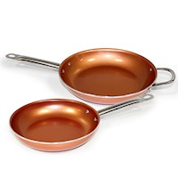 2pc Copperwell Non Stick Copper Frying Pan Set