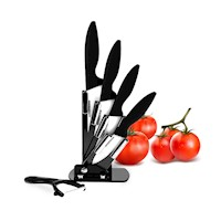 6 Piece White Ceramic Kitchen Knife Set with Peeler