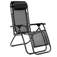 Reclining Camping Deck Chair Fully Folding in Black