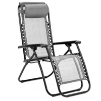 Reclining Camping Deck Chair Fully Folding in Grey