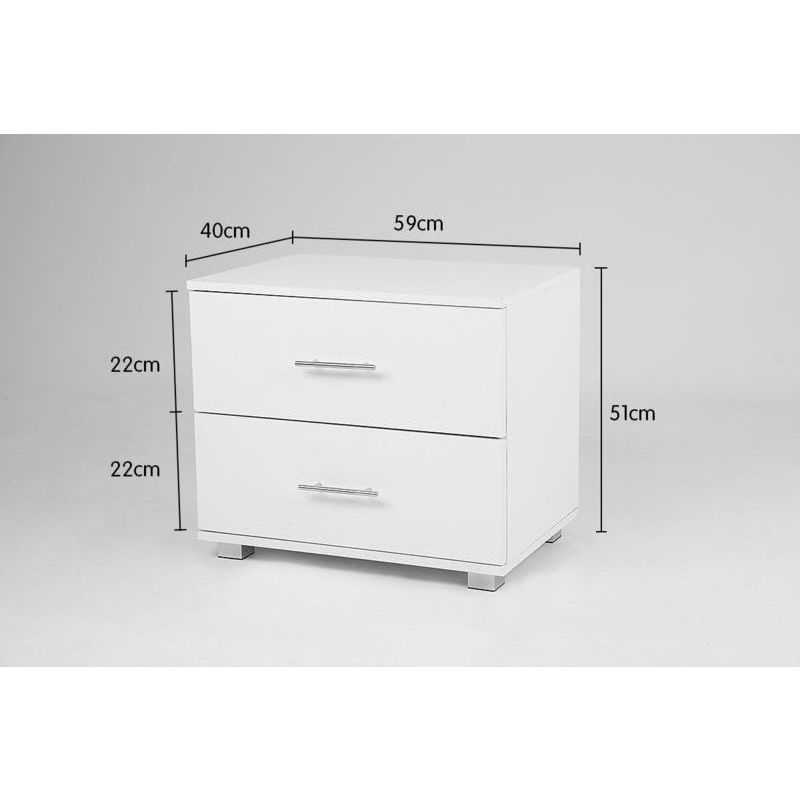 Bedside table cabinet with 2 drawers in matte white buy for Buy white bedside table