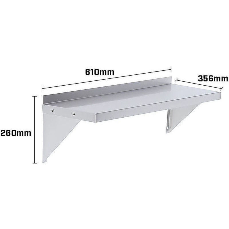Stainless Steel Wall Mounted Shelf 610 x 356mm Buy