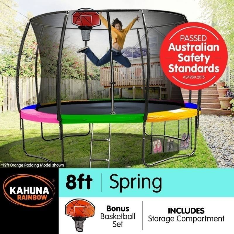 Kahuna 8ft Trampoline With Net Enclosure In Rainbow
