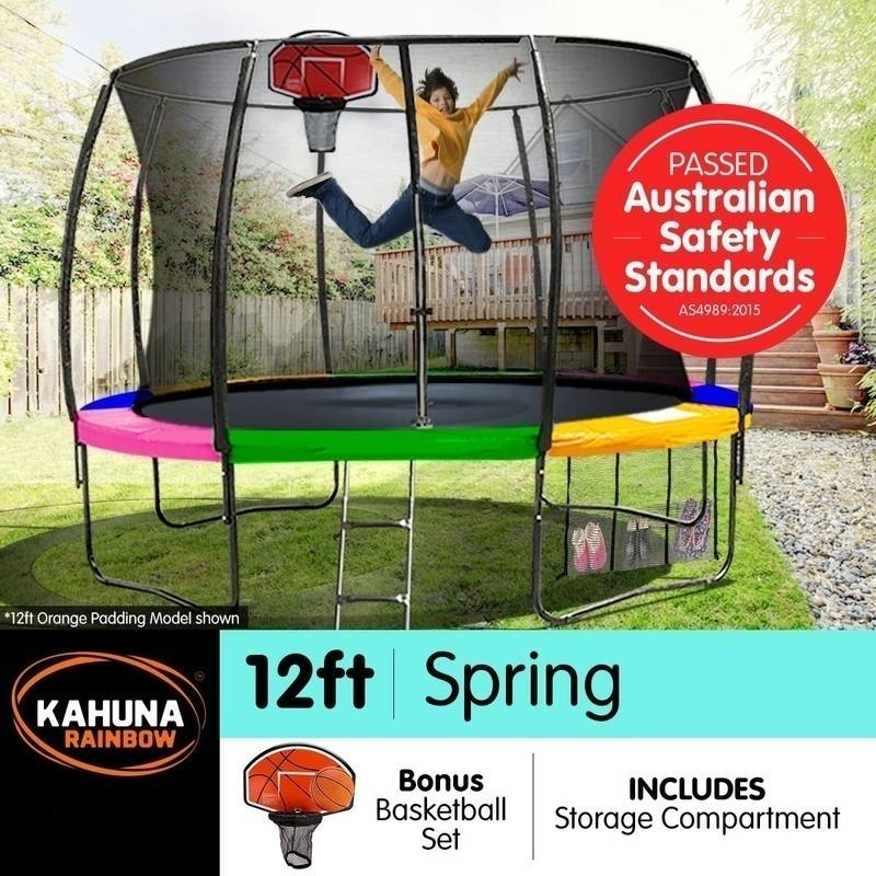 Trampoline Safety Pad Heavy Duty Waterproof 10ft 12ft 14ft: Kahuna 12ft Trampoline With Net Enclosure - Rainbow