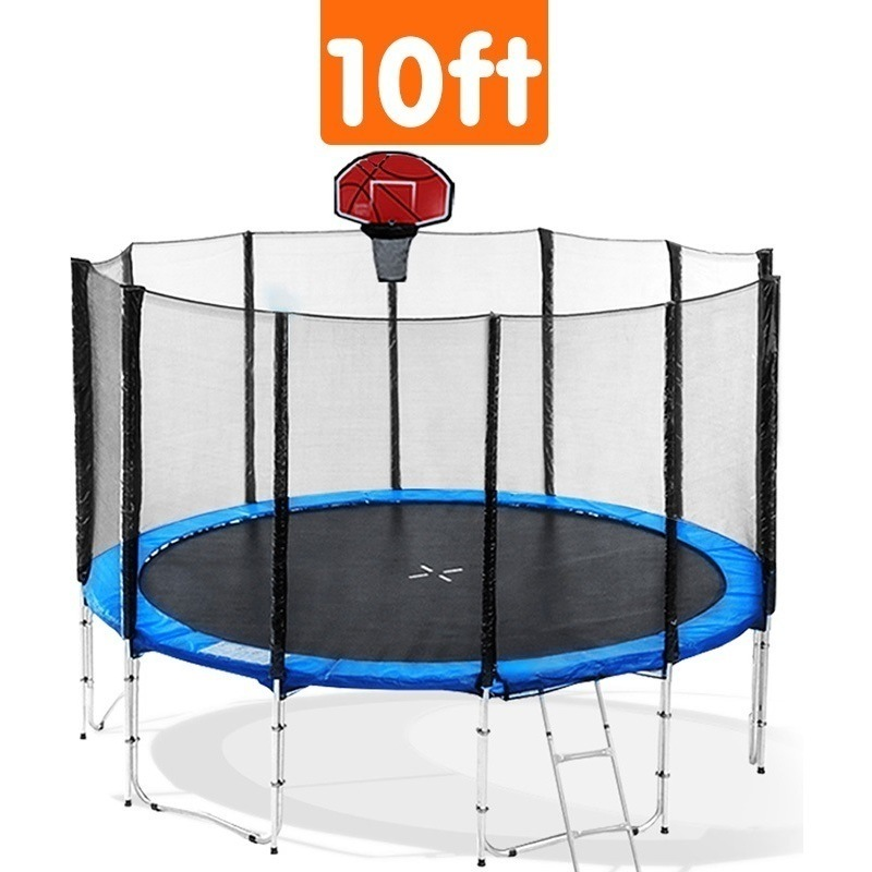 Kahuna 10ft Trampoline With Basketball Set In Blue