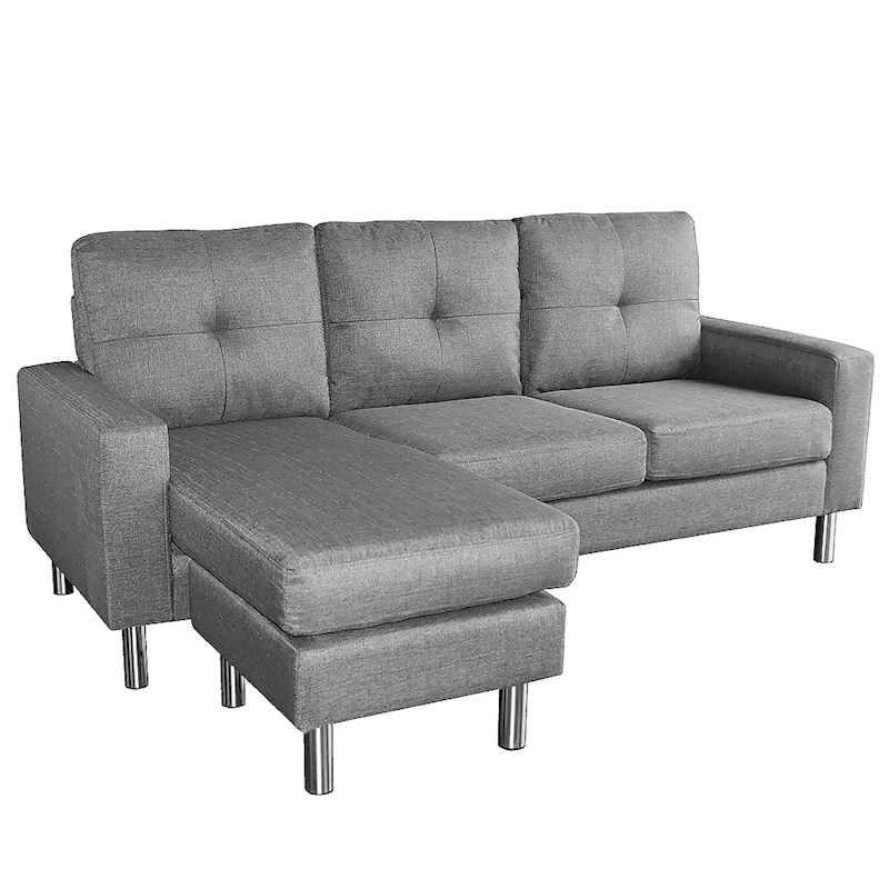 Linen Corner Sofa Couch Lounge Chaise With Metal Legs