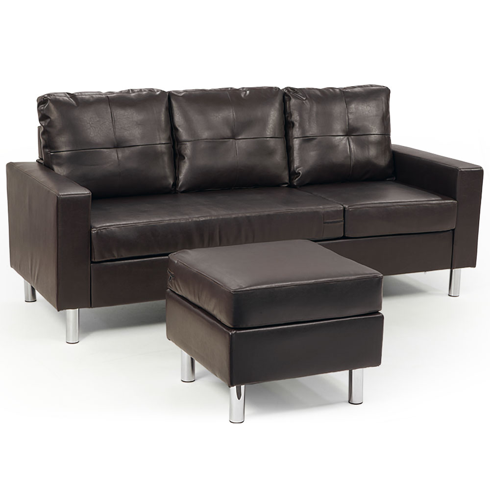Corner Sofa Lounge Couch Modular Furniture Chair Home Faux Leather ...