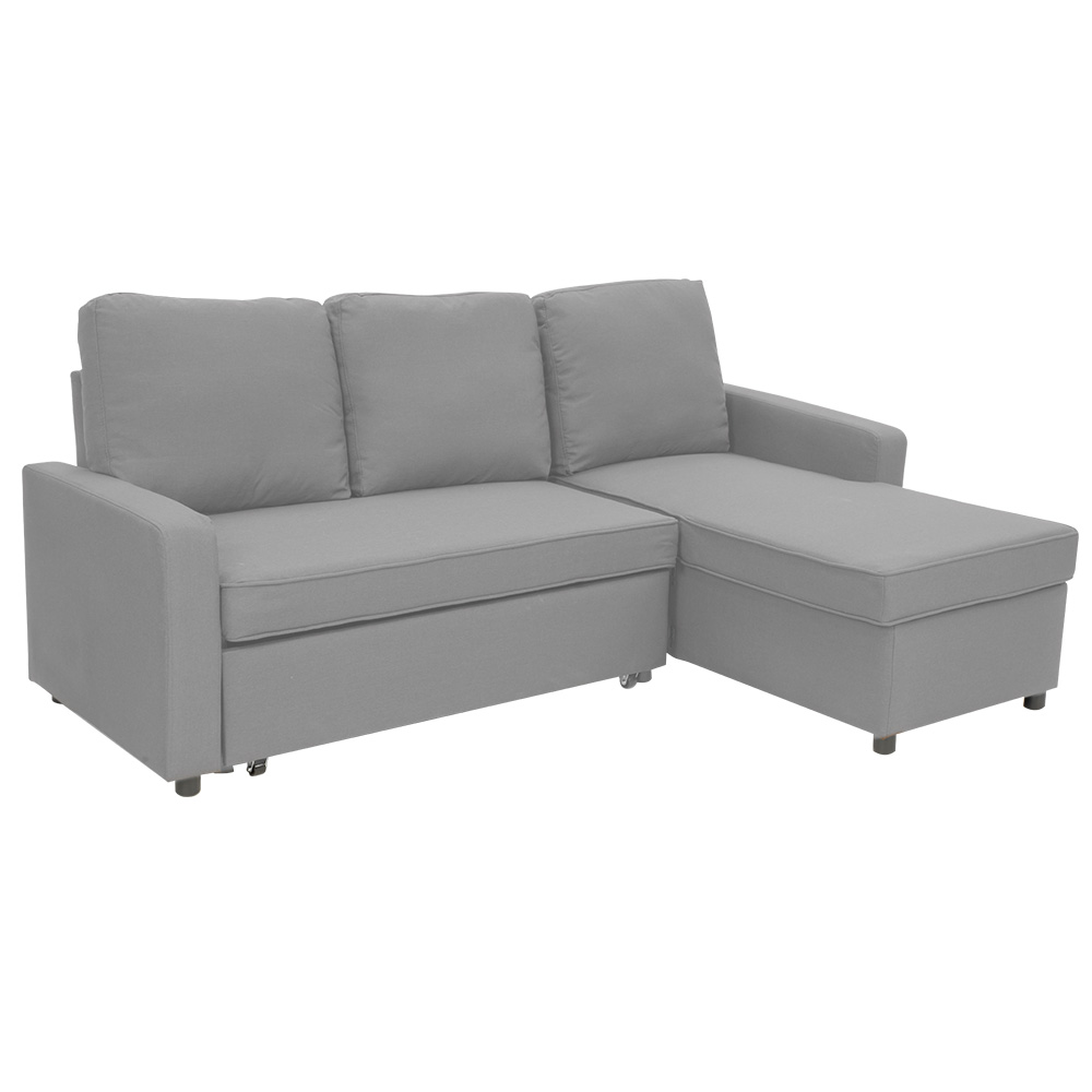 3-Seater Corner Sofa Bed with Storage Lounge Chaise Couch - Light ...