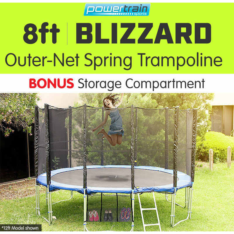 8ft Blizzard Trampoline With Net Enclosure In Blue Buy