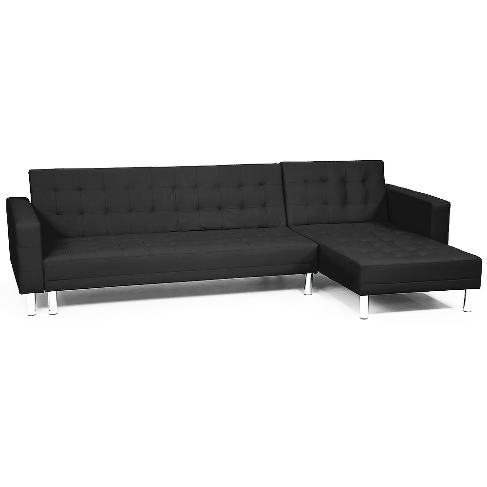 Corner Sofa Lounge Couch Bed Modular Furniture Home Faux Leather Chaise  Black