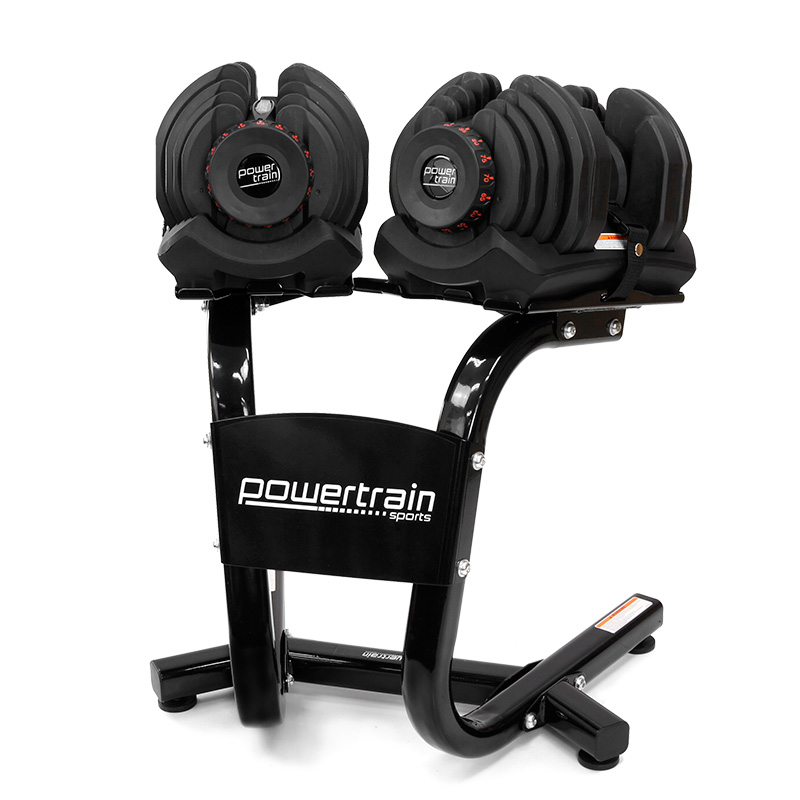 Powertrain 80kg Adjustable Dumbbell Set W Stand Home Gym