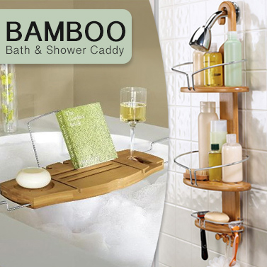 Luxury Bamboo Bathroom Caddies for Shower or Bath | Buy Shower ...